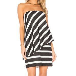Halston Heritage Strapless Tier Drape Stripe Dress